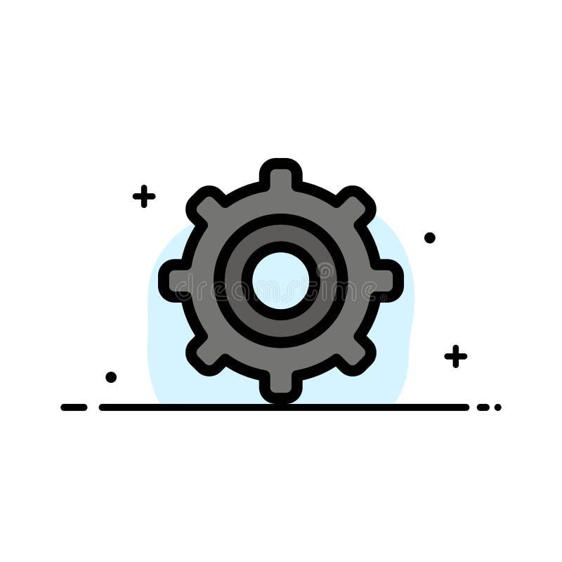 Шестерня, установка, линия дела Cogs плоская заполнила шаблон знамени вектора значка иллюстрация вектора
