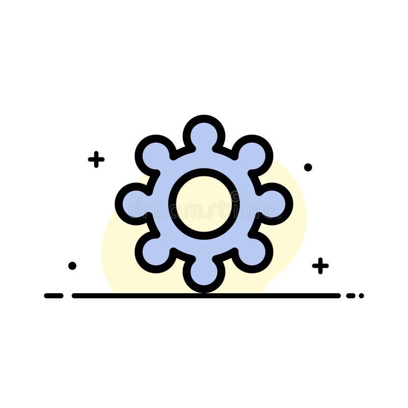 Шестерня, установка, линия дела Cogs плоская заполнила шаблон знамени вектора значка бесплатная иллюстрация