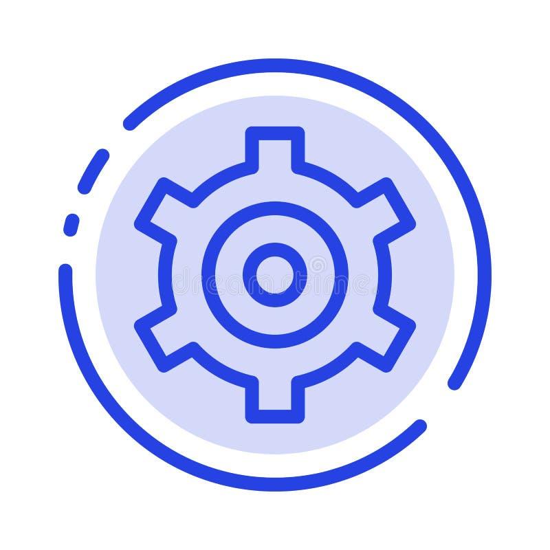 Шестерня, установка, линия значок голубой пунктирной линии Cogs иллюстрация вектора