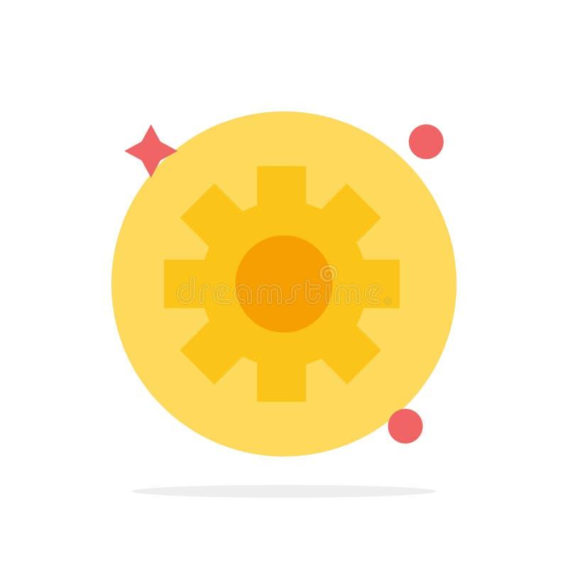 Шестерня, установка, Cogs резюмирует значок цвета предпосылки круга плоский иллюстрация штока
