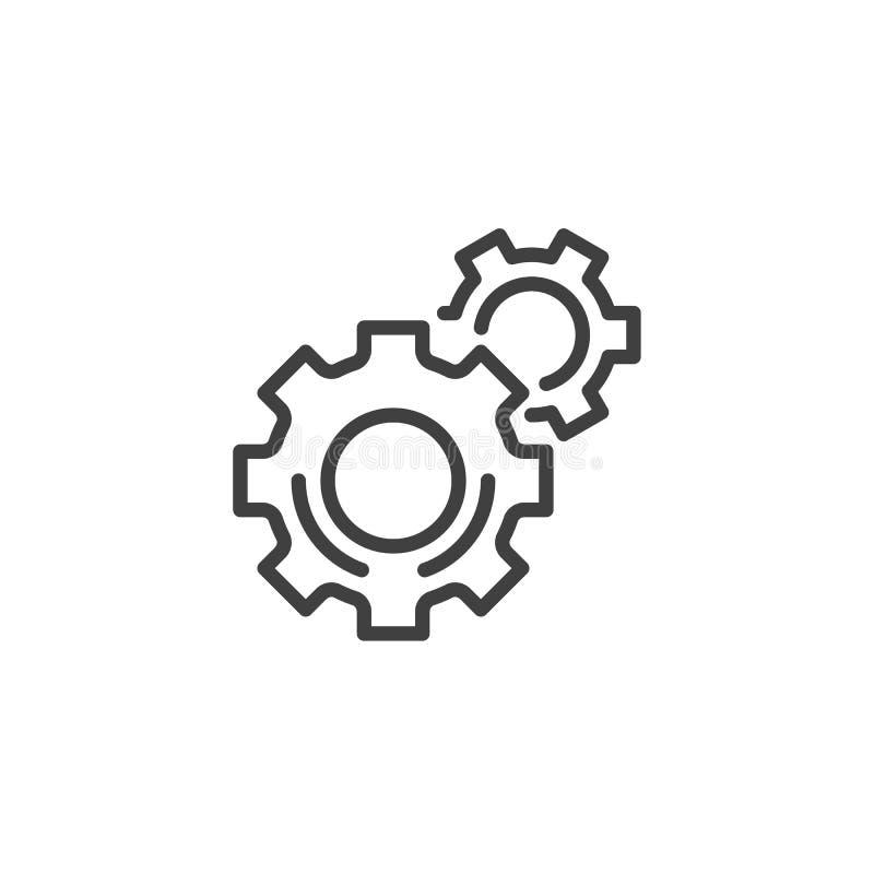 Шестерня, установки выравнивает значок иллюстрация вектора