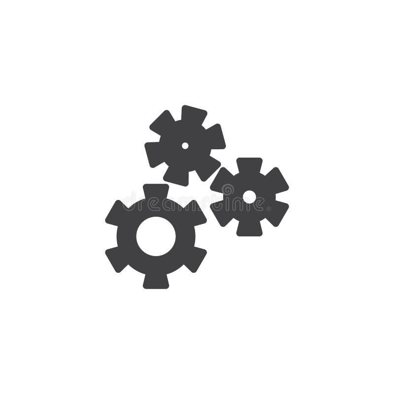 Шестерня, установки, значок вектора предпочтений иллюстрация штока