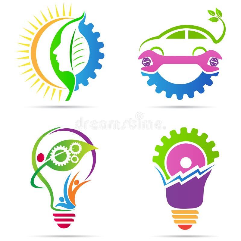 Шестерня энергии зеленого цвета Eco иллюстрация вектора