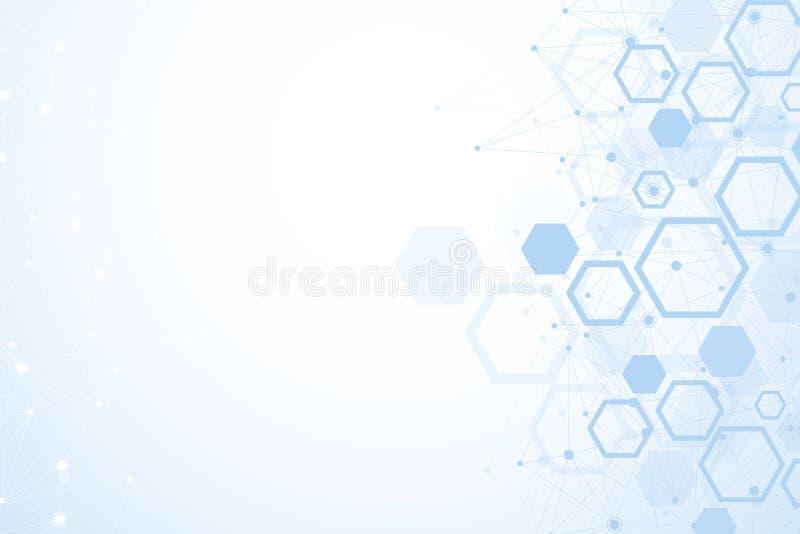 Шестиугольная геометрическая предпосылка Шестиугольники генетические и социальная сеть Будущий геометрический шаблон представлени иллюстрация вектора
