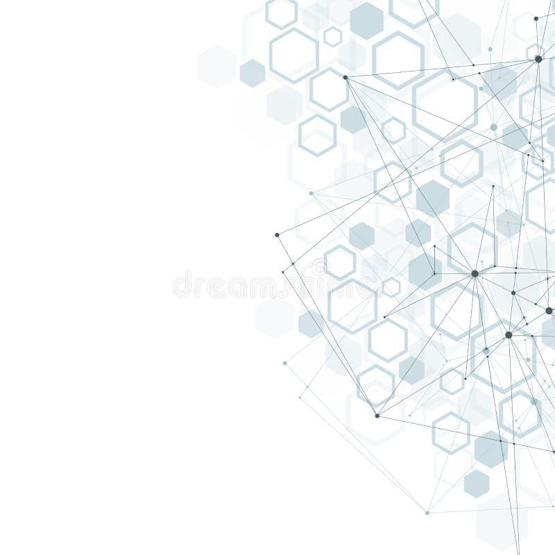 Шестиугольная геометрическая предпосылка Шестиугольники генетические и социальная сеть Будущий геометрический шаблон представлени иллюстрация штока