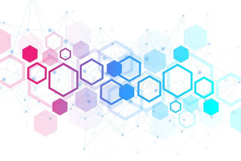 Шестиугольная геометрическая предпосылка Шестиугольники генетические и социальная сеть Будущий геометрический шаблон представлени бесплатная иллюстрация