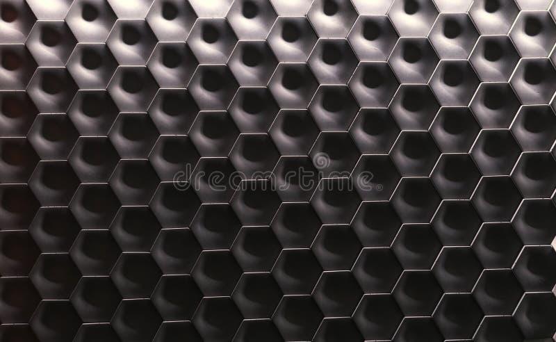 Шестиугольная поверхность текстуры стены Серая предпосылка картины конспекта градиента стоковое фото rf