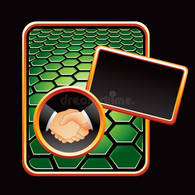 шестиугольник рукопожатия зеленого цвета дела объявления иллюстрация штока