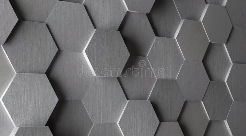 шестиугольная алюминиевая предпосылка плитки 3D бесплатная иллюстрация