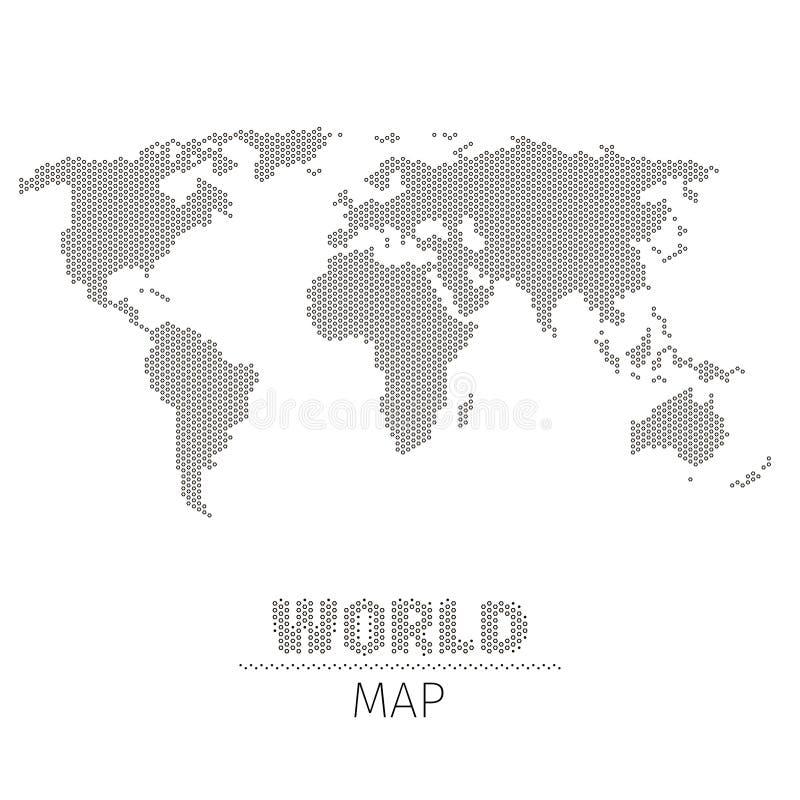 Шестиугольная карта мира точек на белой иллюстрации вектора предпосылки иллюстрация штока