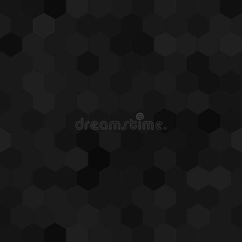 Шестиугольная черная безшовная картина иллюстрация вектора