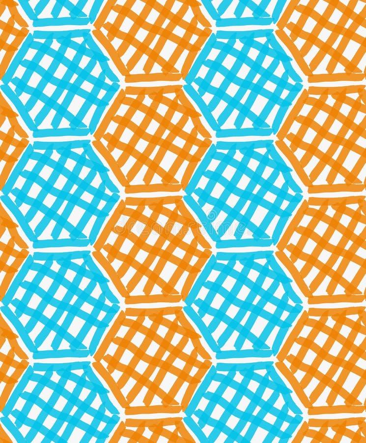 Шестиугольники нарисованные отметкой голубые и оранжевые checkered иллюстрация штока
