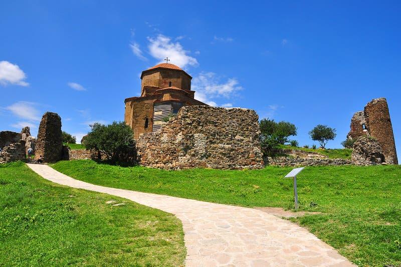 Шестой век монастыря Jvari около Тбилиси, Mtskheta, Georgia стоковая фотография