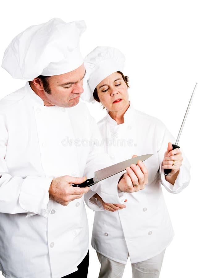 Шеф-повара - качественные ножи стоковая фотография rf