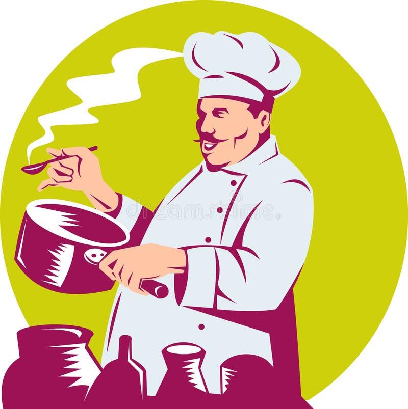 шеф-повар варя дегустацию еды бесплатная иллюстрация