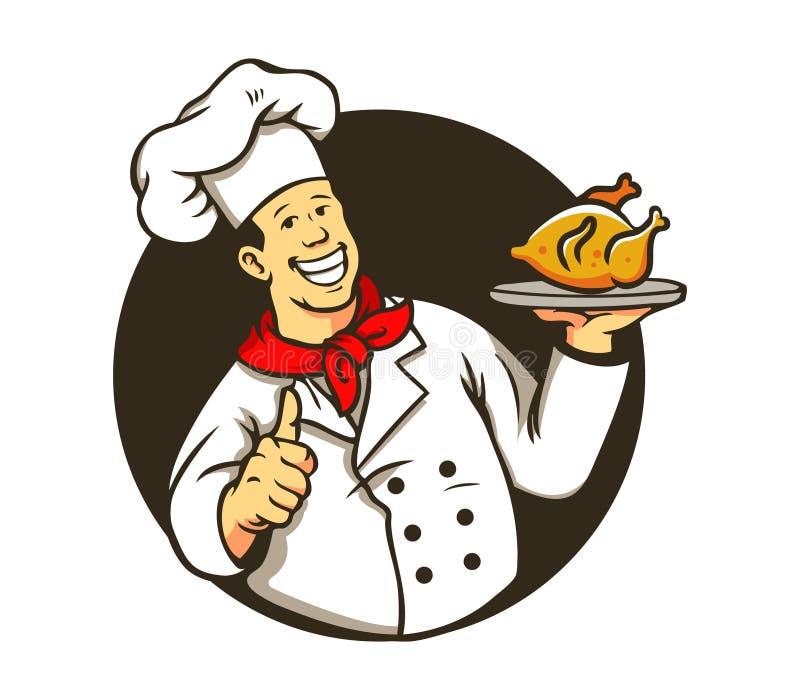 Шеф-повар варя жареную курицу иллюстрация вектора