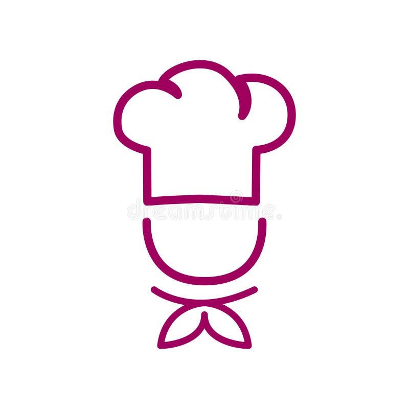 Шеф-повар в варя логотипе плана вектора шляпы Значок кухни простой красный иллюстрация вектора