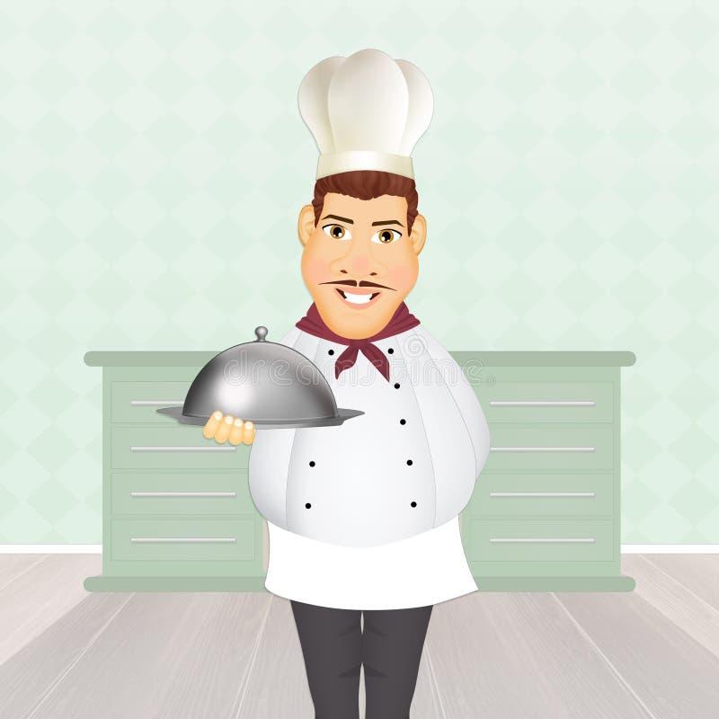 Шеф-повар в кухне иллюстрация вектора
