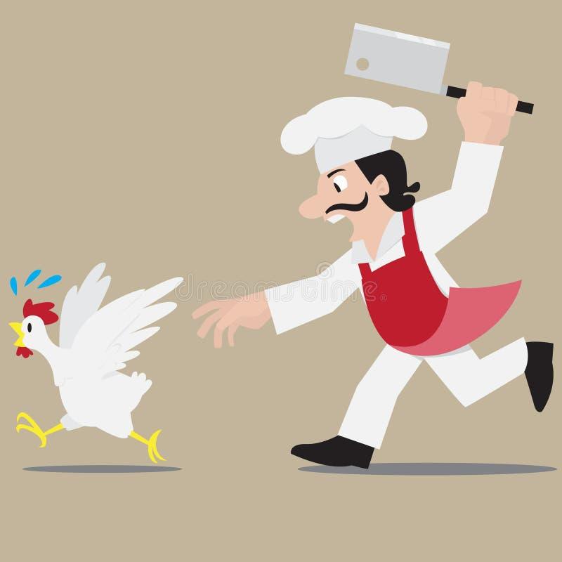 Шеф-повар гоня цыпленка иллюстрация вектора
