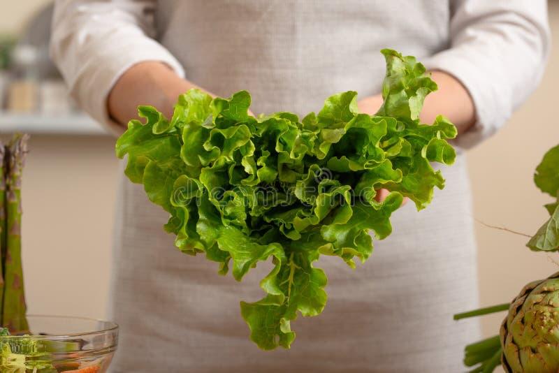 Шеф-повар держит зеленый салат в форме сердца Концепция теряя здоровой и полезной еды, вытрезвителя, еды vegan стоковое фото rf
