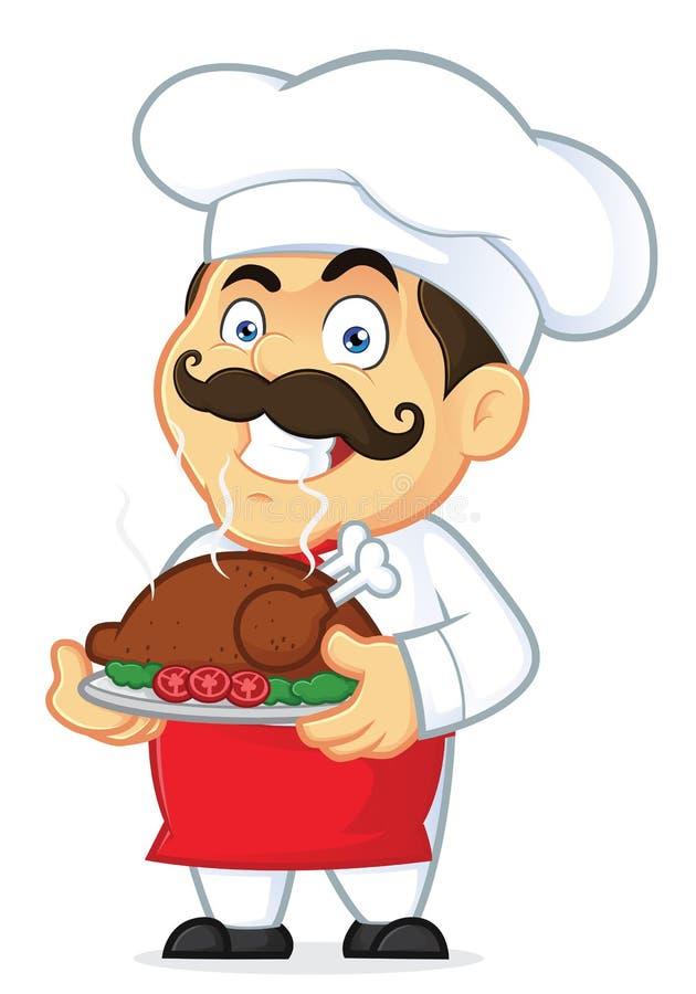 Шеф-повар держа испеченного цыпленка иллюстрация штока
