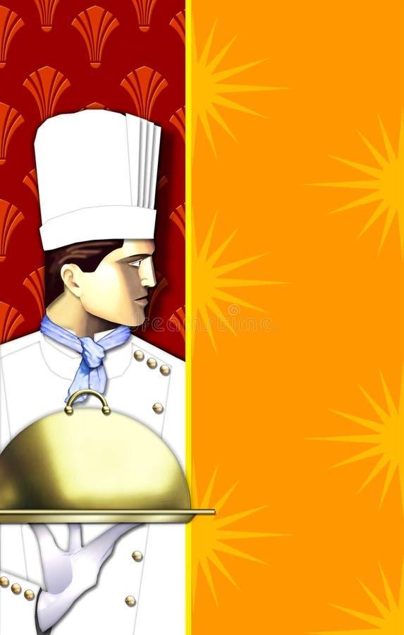 шеф-повар искусства покрыл тарелку w deco иллюстрация штока