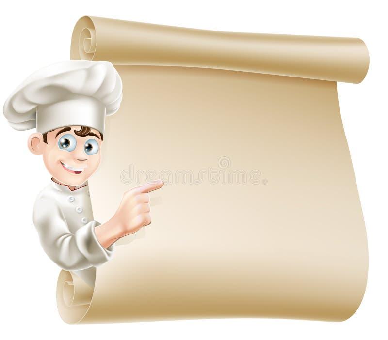 Шеф-повар и меню шаржа иллюстрация вектора