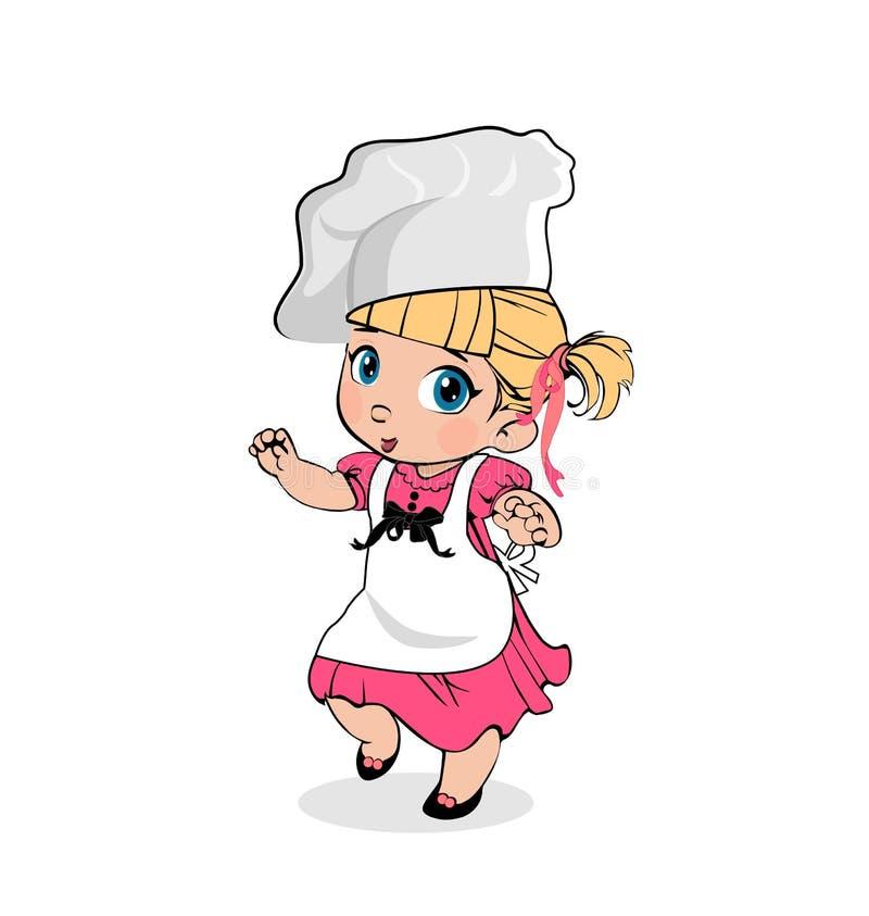 Шеф-повар маленькой девочки в рисберме и шляпе, характере детей иллюстрация вектора
