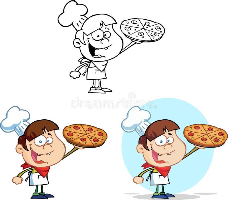 Шеф-повар мальчика держа пиццу Комплект собрания иллюстрация штока
