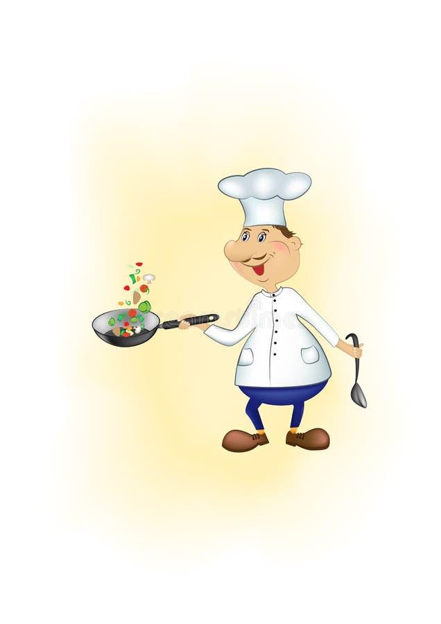 Шеф-повар мультфильма бросает вверх отрезанные части овощей в лотке на желтой предпосылке, вертикальной иллюстрации вектора бесплатная иллюстрация