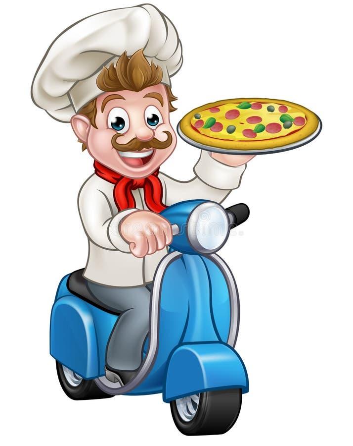 Шеф-повар пиццы шаржа на самокате мопеда поставки иллюстрация вектора