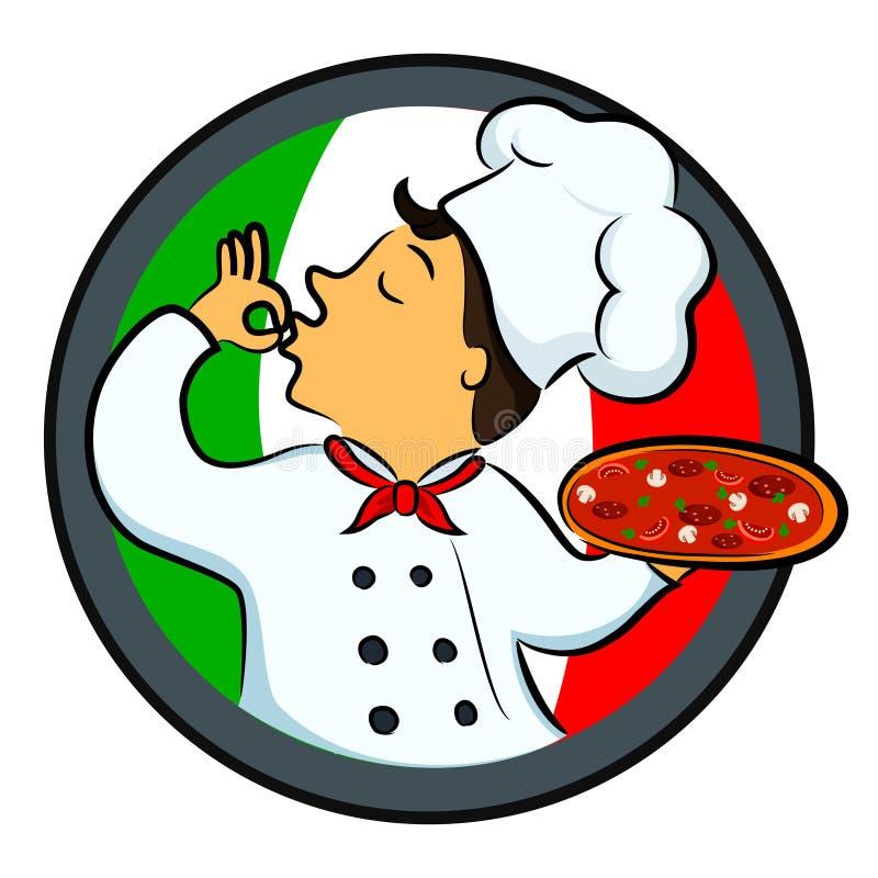 Шеф-повар пиццы иллюстрация штока