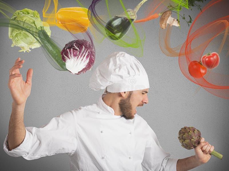 Шеф-повар поет стоковые фотографии rf