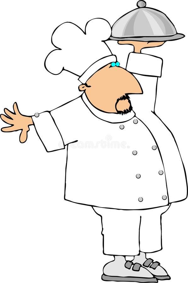 шеф-повар покрыл плиту удерживания бесплатная иллюстрация