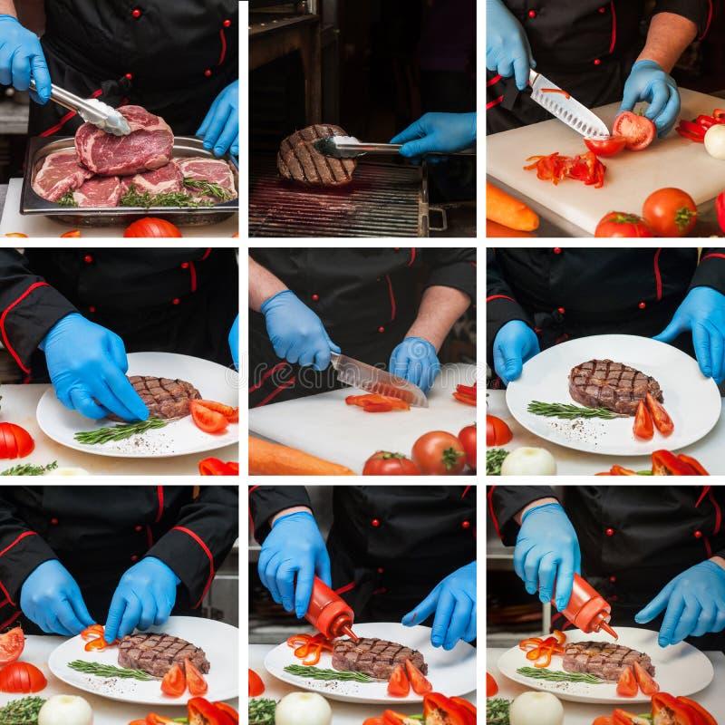 Шеф-повар подготавливая стейк мяса стоковое изображение rf