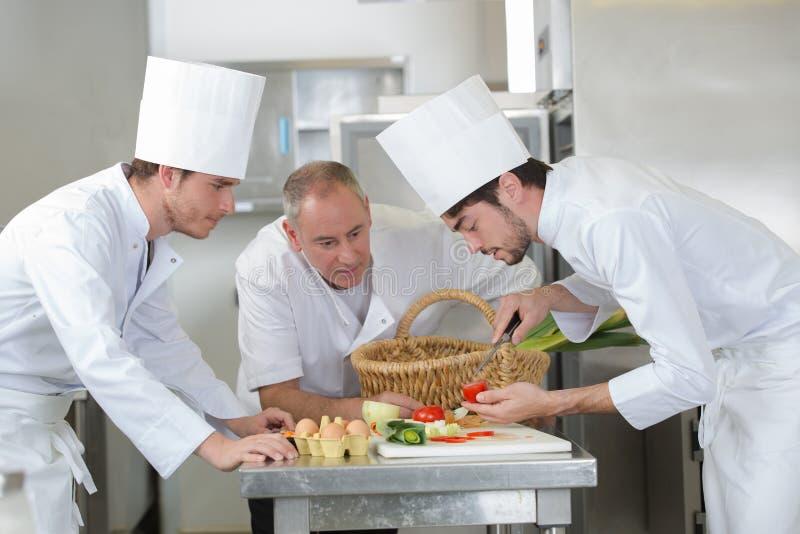 Шеф-повар подмастерья подготавливая томат стоковая фотография