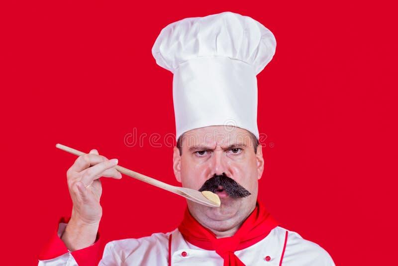 Шеф-повар пробуя еду стоковое фото
