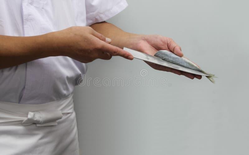 Шеф-повар режет рыб в части суш стоковое фото rf