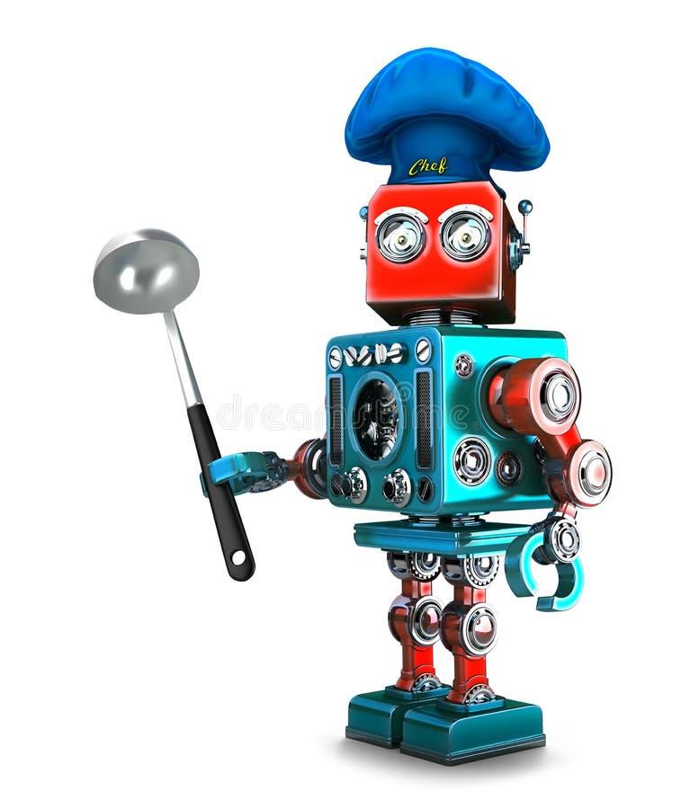 Шеф-повар робота иллюстрация 3d изолировано Содержит путь клиппирования иллюстрация вектора