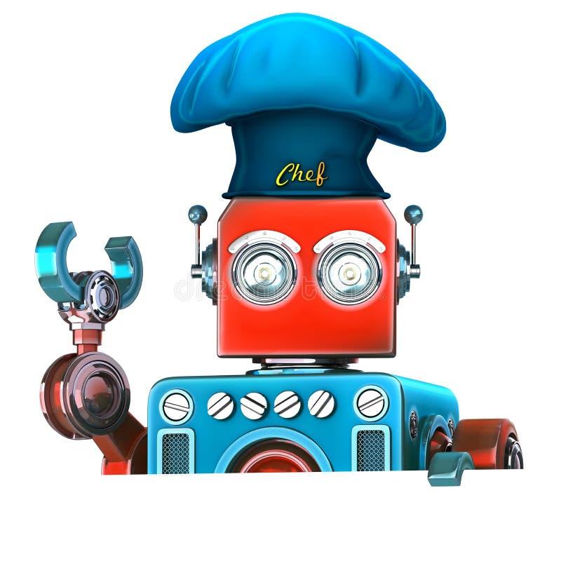 Шеф-повар робота с пустой пустой доской иллюстрация 3d изолировано Co бесплатная иллюстрация