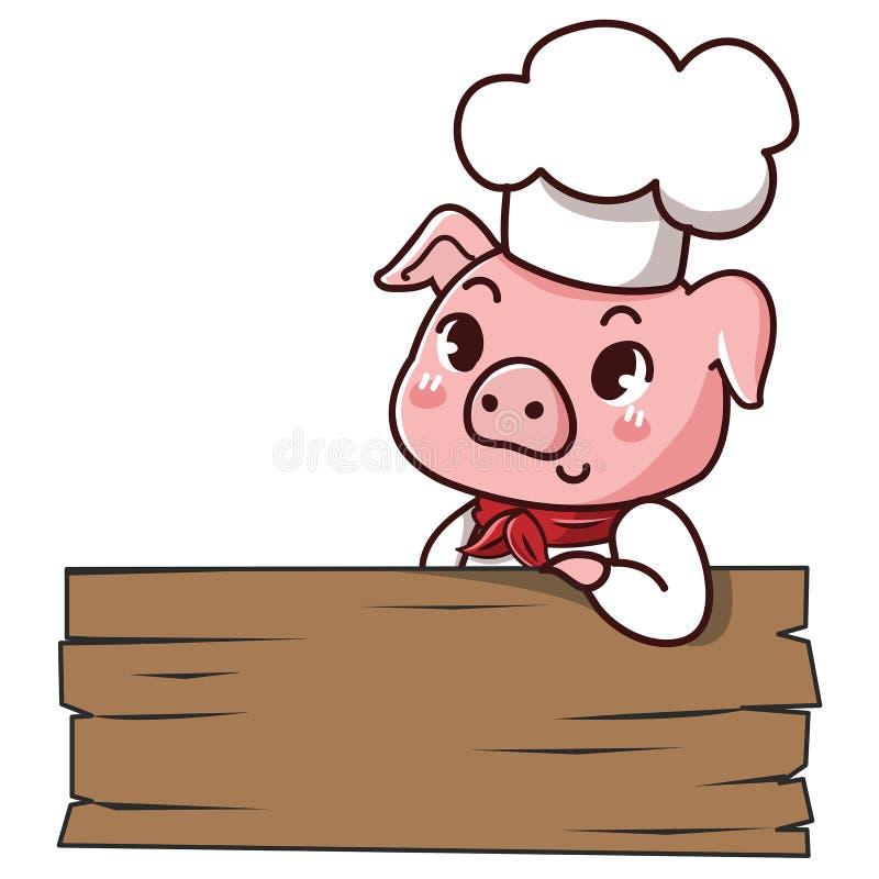 Шеф-повар свиньи держит знак иллюстрация штока