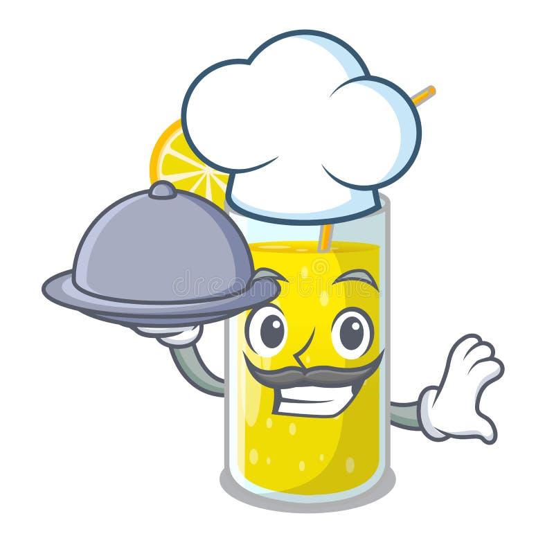 Шеф-повар со стеклом лимонного сока еды на таблице характера иллюстрация вектора