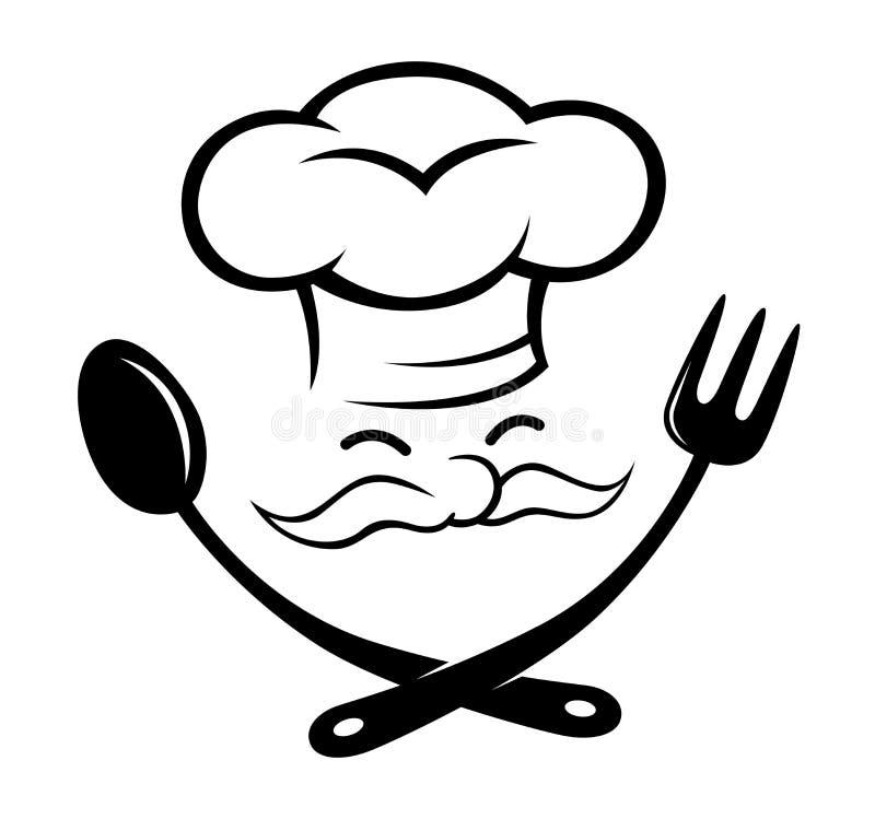 Шеф-повар с значком ложки и вилки иллюстрация вектора