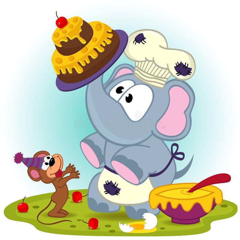 Шеф-повар слона подготавливает торт для мыши иллюстрация вектора
