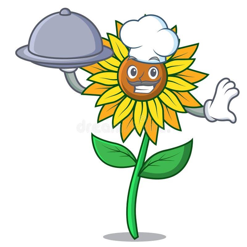 Шеф-повар с стилем шаржа талисмана солнцецвета еды бесплатная иллюстрация