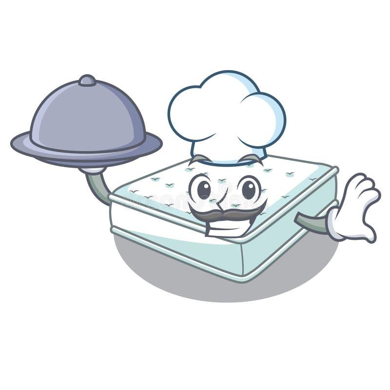 Шеф-повар с тюфяка мультфильма еды сделанное для того чтобы спать иллюстрация вектора