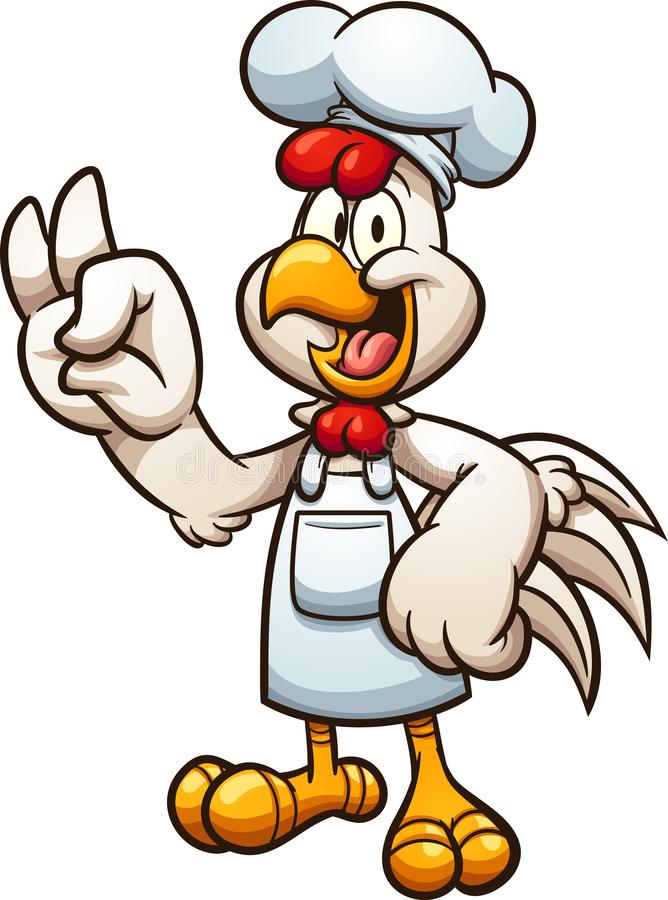Шеф-повар цыпленка мультфильма делая В ПОРЯДКЕ жест рукой иллюстрация вектора