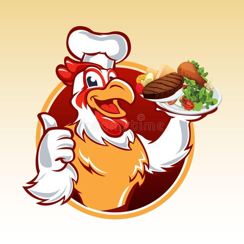 Шеф-повар цыпленка шаржа иллюстрация штока