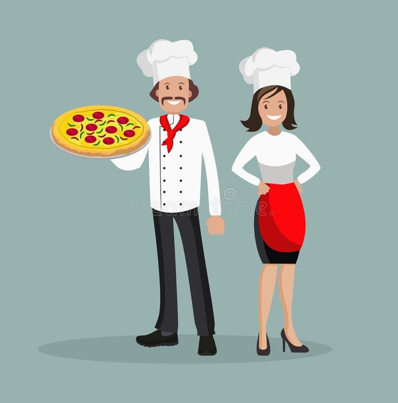 Шеф-повар человек и женщина с пиццей Иллюстрация вектора плоского дизайна иллюстрация вектора