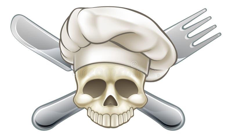 Шеф-повар черепа и кости иллюстрация штока